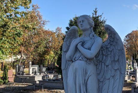 Na zdjęciu widać dużą rzeźbę anioła, a w tle groby cmentarne.