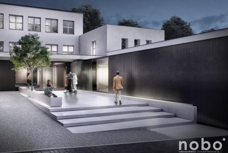 Na zdjęciu wizualizacja frontu budynku szkoły muzycznej. Przed nią kilka młodych osób rozmawia ze sobą.