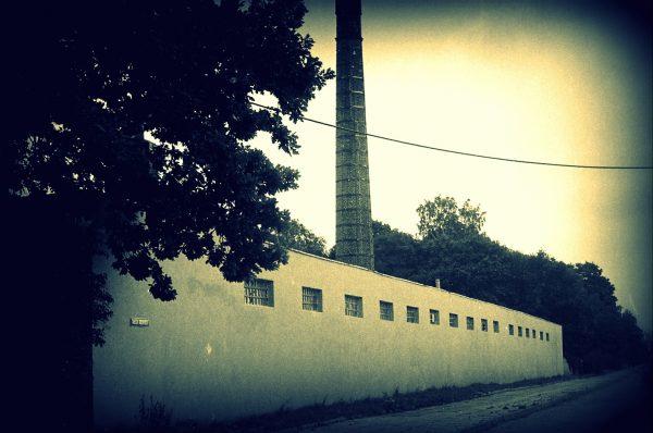 Zdjęcie parterowej fabryki z widocznym wysokim kominem w tle