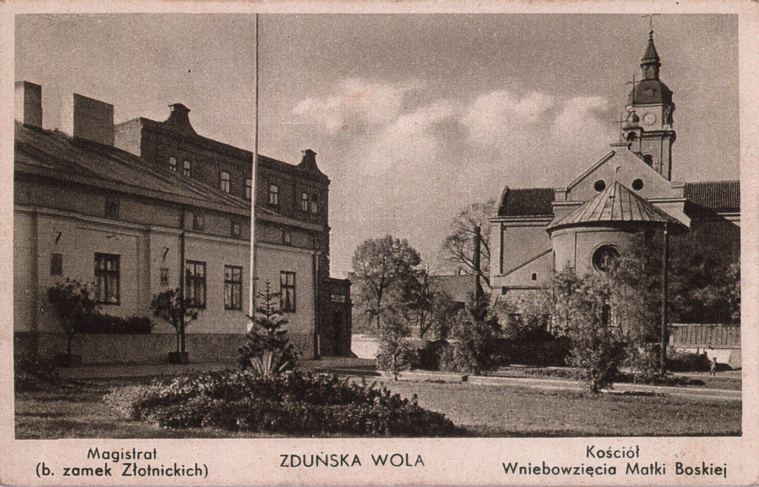 Historyczna kartka pocztowa przedstawiająca fotografię Manufaktury Stefana Złotnickiego
