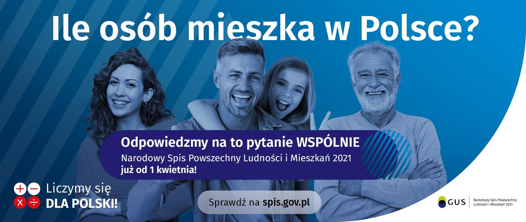 Grafika z napisem o treści Ile osób mieszka w Polsce, odpowiedzmy na to pytanie wspólnie. Sprawdź na spis.gov.pl