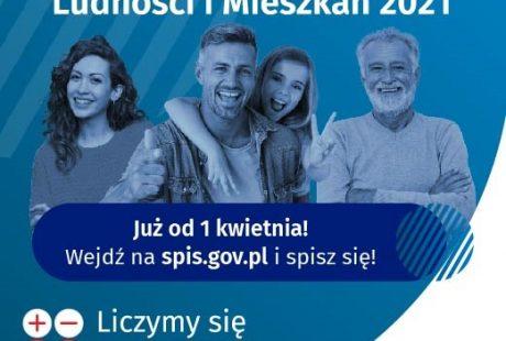 Baner reklamowy z napisem Narodowy Spis Powszechny Ludności i Mieszkań 2021