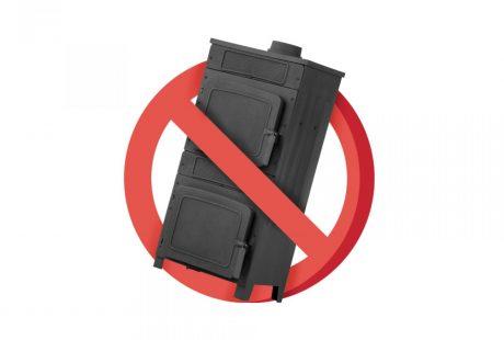 Piec węglowy przekreślony symbolem drogowego znaku zakazu