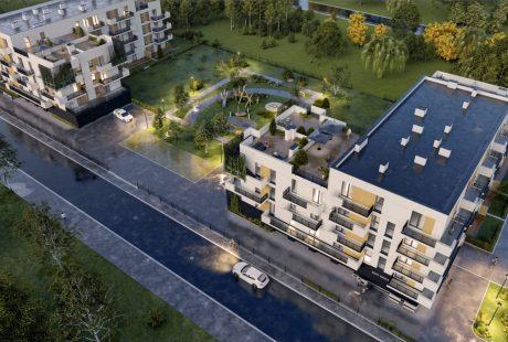 Wizualizacja bloku mieszkalnego na planowanym osiedlu Nowy Manhattan w Zduńskiej Woli – widok z lotu ptaka